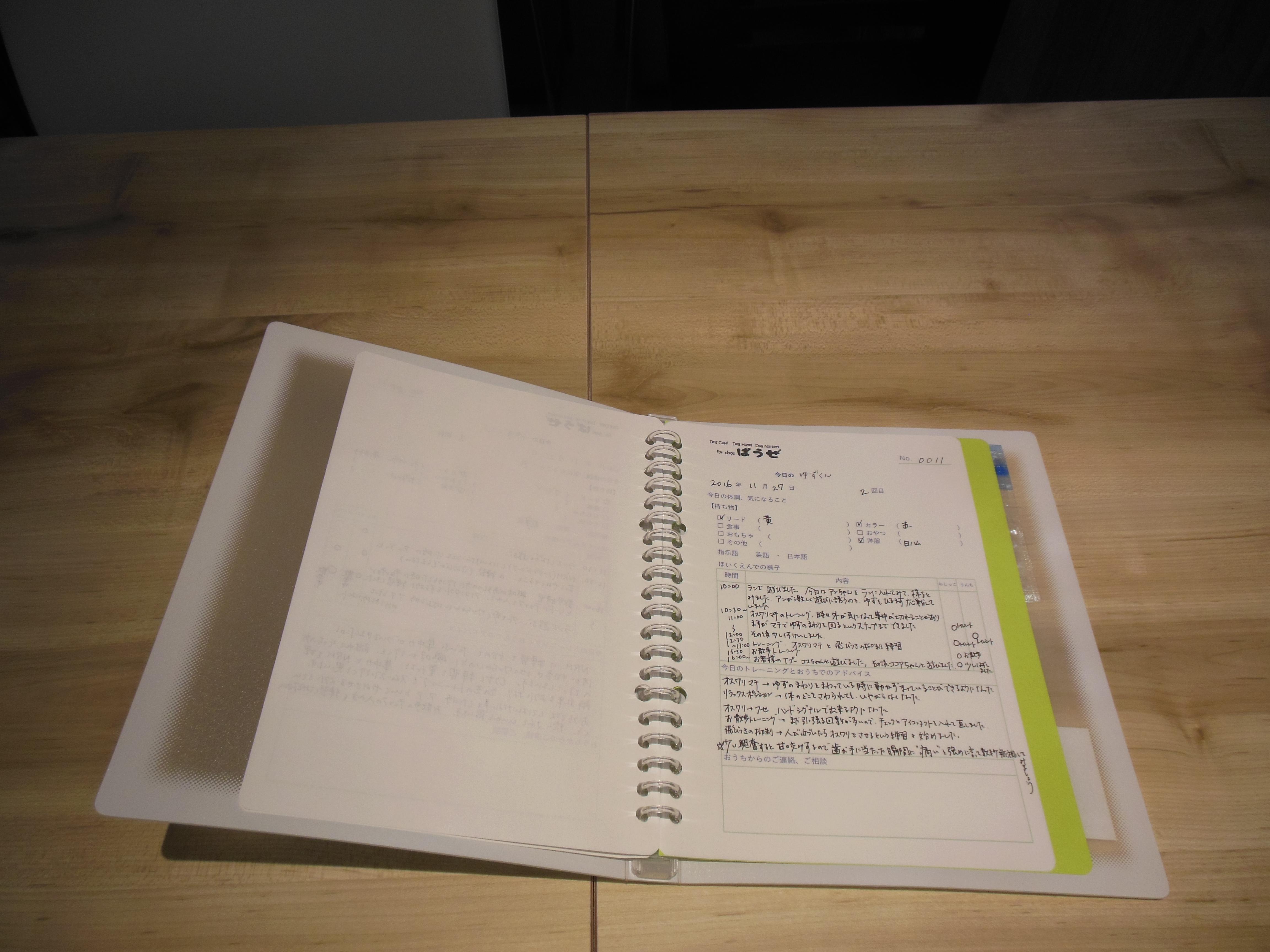 連絡帳に今日のトレーニング内容と排泄の回数、お昼寝の時間、飼い主さまへアドバイスなどを書いてお渡しします